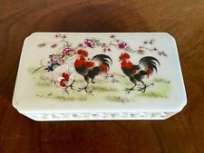Antique Chinese Porcelain Scroll Paper Weight Chicken Rooster 19th Early 20th c.
