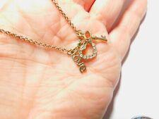 Clear Rhinestone Heart Key LOVE Charm Chain Necklace Vintage