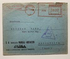 AMG VG - TRIESTE - Lettera Via Aerea Per Egitto. Affrancatura Meccanica Rara