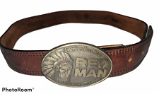 New listing Vintage Red Man Chewing Tobacco Belt Buckle and Leather Belt Size 32