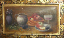 1929 Still life with fruits and wine oil painting signed