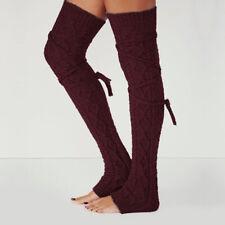 Women Winter Crochet Knitted Stocking Leg Warmers Boot Thigh High Socks Fancy US