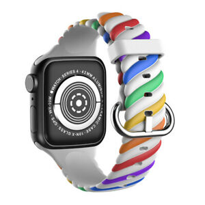 For Apple Watch Series SE 1234567 Sport Silicone Replacement Strap Band Rainbow