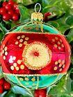 Vintage TRIPLE INDENT Reflector RED GREEN Blown Glass POLAND Christmas Ornament