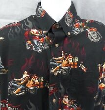 Santa on Motorcycle North Pole Choppers Christmas Shirt Mens Size Medium M