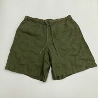 Orvis Shorts Men's Large Olive Flat Front Drawstring Waist Casual Linen Outdoors