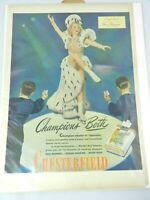Vintage Ad 1945 Sonja Henie Ice Skating Photo Chesterfield Cigarettes Print