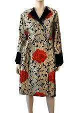 GALANOS Vintage Floral Brocade Black Velvet Princess Evening Coat M