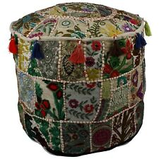 """18"""" White Ottoman Patchwork Embroidered Pouf Cover Indian Floor Cushion Cover"""