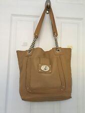 CALVIN KLEIN 'Hayden' Tote Extra Large Tan Pebbled Leather Chain Shoulder Bag