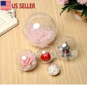 10 Sphere set Clear Plastic Ball Fillable Ornament Hollow Hanging Christmas Xmas