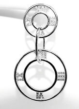 RHODIUM PLATED 925 HALLMARKED SILVER PAVE SET ROMAN NUMERAL DROP DANGLE EARRINGS