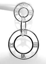 Rodio Placcato 925 Marchiato Argento Pave Set Numeri Romani Goccia Dangle Earrings