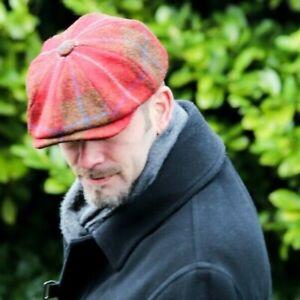 New Men's Olney Urban 4 8 Piece Harris Tweed Gatsby Cap Peaky Blinders Red Check