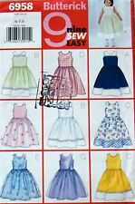 ~ RARE VTG  NEW FF EASY   BUTTERICK GIRL BOUTIQUE 9 DRESS  PATTERN SZ 6 7 8 ~