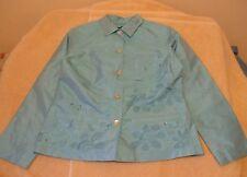 Christina Hope Sz 10 Solid Aqua Lined Jacket w/Floral Embroidery, long slv - NWT