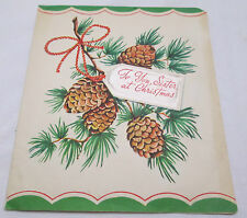 Vintage Christmas Greeting Card 1946 To You Sister Dear Pine Cones Greetings