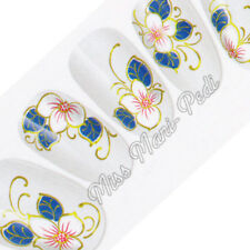 Nail Art Water Decals, Nail Stickers, Blue & White Flowers with Matt Gold H044