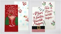 TWO St. Nicholas Square® Holiday Kitchen Towel 2-packs (4 towels total)