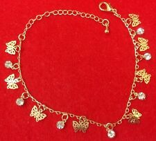 18k Gold Plated Butterfly Charm Ankle Bracelet With Austrian Crystals - Delicate