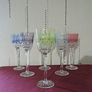 6 verres roemer de couleur en cristal de lorraine  H 21 cm taille type tommy