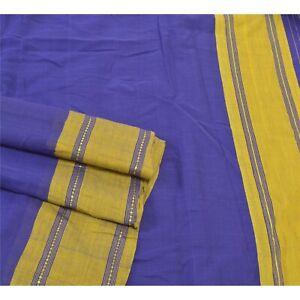Sanskriti Vintage Blue Sarees 100% Pure Cotton Printed 5 Yard Craft Sari Fabric