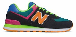 New Balance Men's 574 Shoes Black with Green