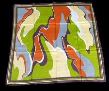 """Vintage silk scarf abstract 70's swirl green rust yellow gray brown white 29"""""""