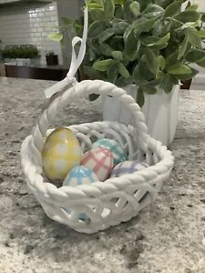 Ceramic Easter Basket With Decorative Eggs