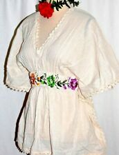 Ivory Blouse Hand Embroidered Mexico Frida Butterfly cotton gauze 2X 5 de Mayo