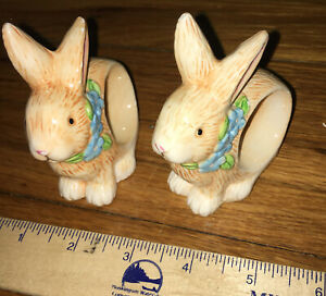 Set 2 Ceramic Bunny Rabbits Napkin Rings Easter Spring Blue Flowers