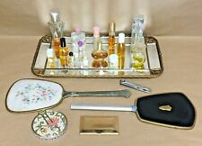 Vintage Estate Vanity Lot Mirrored Tray Handheld Mirror Glass Perfume Bottles