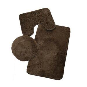 3pcs Bathroom Anti-slip Shower Carpet Set Household Toilet Lid Floor Flannel Mat