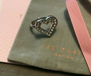 Ted Baker Evvah Enchanted Heart Ring Silver Tone Med/Lge Size P