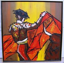 Oil or Acrylic on Canvas Matador Bull Fighter Thick Black Outlines