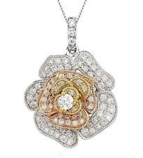 Diamond Rose Pendant 0.60ct F VS in 18ct 3-Colour Gold Diamond Bale & Chain