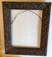 Antique Wooden Gesso Ornate Carved Wood Picture Frame 14x11 Overall 18x15 EUC