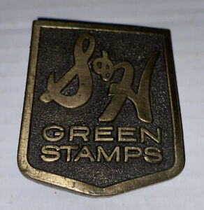 RARE S&H Green Stamps Logo Metal Belt Buckle Sperry Hutchinson Corp Vintage 1981