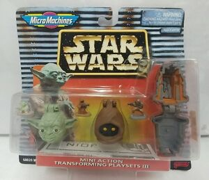 RARE Micro Machines Star Wars Mini Transforming Playsets III Yoda Jawa Boushh