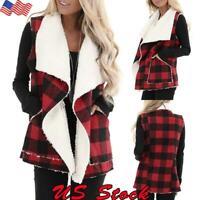 Women Winter Plaid Velvet Vest Sleeveless Lapel Casual Coat Brushed Warm Outwear