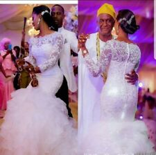 REGNO UNITO A Strati Pizzo Bianco/avorio sirena manica lunga abito da sposa da sposa Taglia 6-16