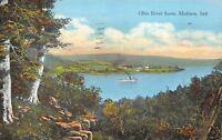 Madison Indiana 1937 Postcard Ohio River Scene Steamboat