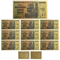10× $100 One Hundred Trillion Dollar Zimbabwe Gold Banknote Set Rock COA USA N7