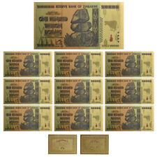 10× $100 One Hundred Trillion Dollar Zimbabwe Gold Banknote Set w/ Rock COA