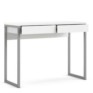 Glossy White Modern 2 Drawers Home Office Desk.Scandinavian Design.Metal Legs