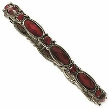 Black-plated Red Crystal 1928 Boutique Stretch Bracelet