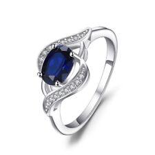 2Ct Oval Cut VVS1/D Blue Sapphire Diamond Engagement Ring 14k White Gold Over