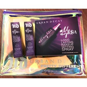 Urban Decay Lot of 4 - MINI Allnighter Setting Spray Grip Primer Set Makeup Bag
