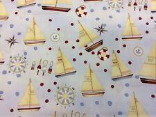 "Henry Glass - ""Sail Away"" By Debbie Taylor-Kerman - Sailing Ships - 100% Cotton"