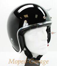 Retro Jet Helm Race Glanz Schwarz Chromrand Motorrad Moped Rally Mofa Gr. L